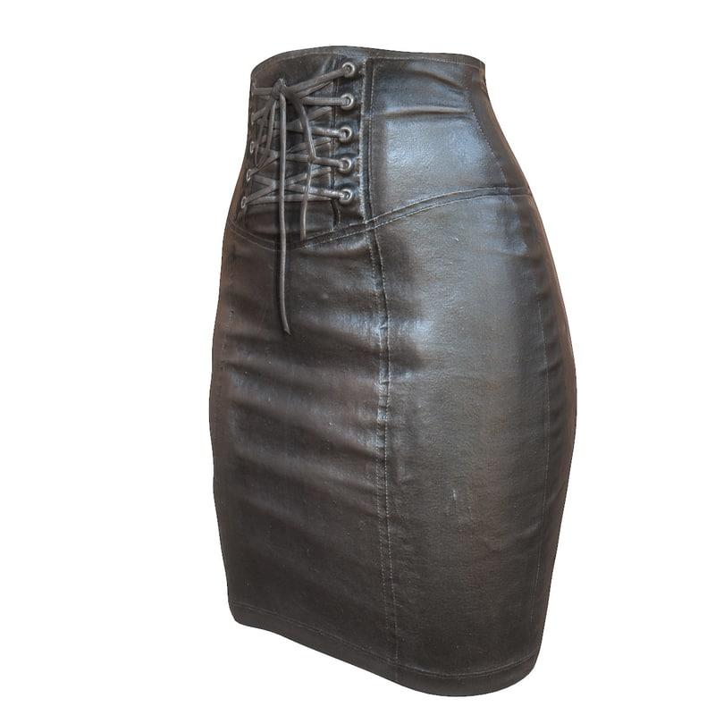 3d model leather skirt pencil