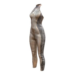 catsuit latex grey 3d model