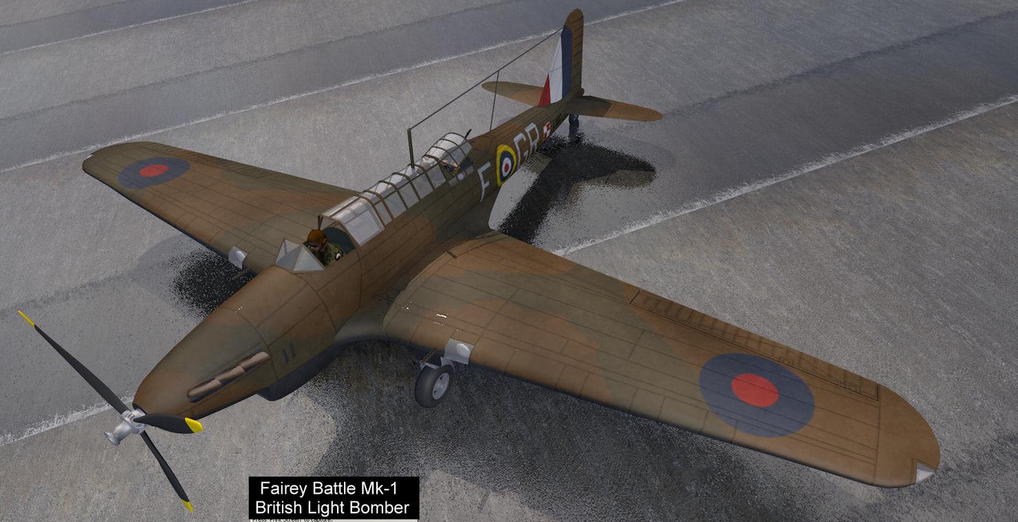 3d model fairey battle mk-1 bomber