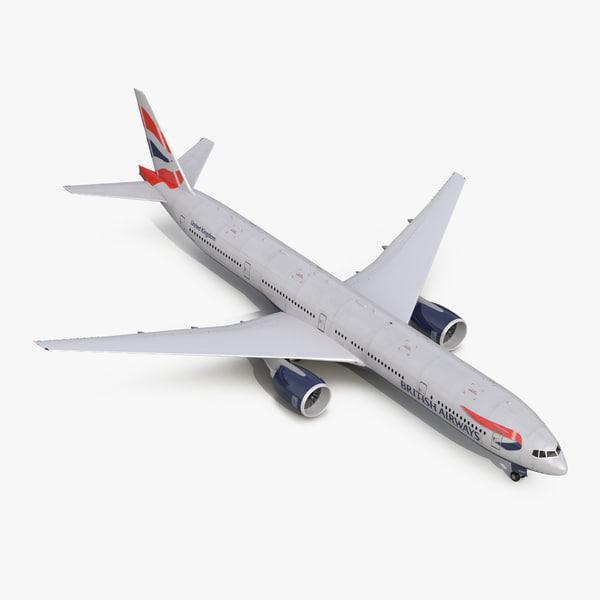 boeing 777-300er british airways 3d obj