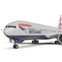 boeing 777-300er british airways 3d obj