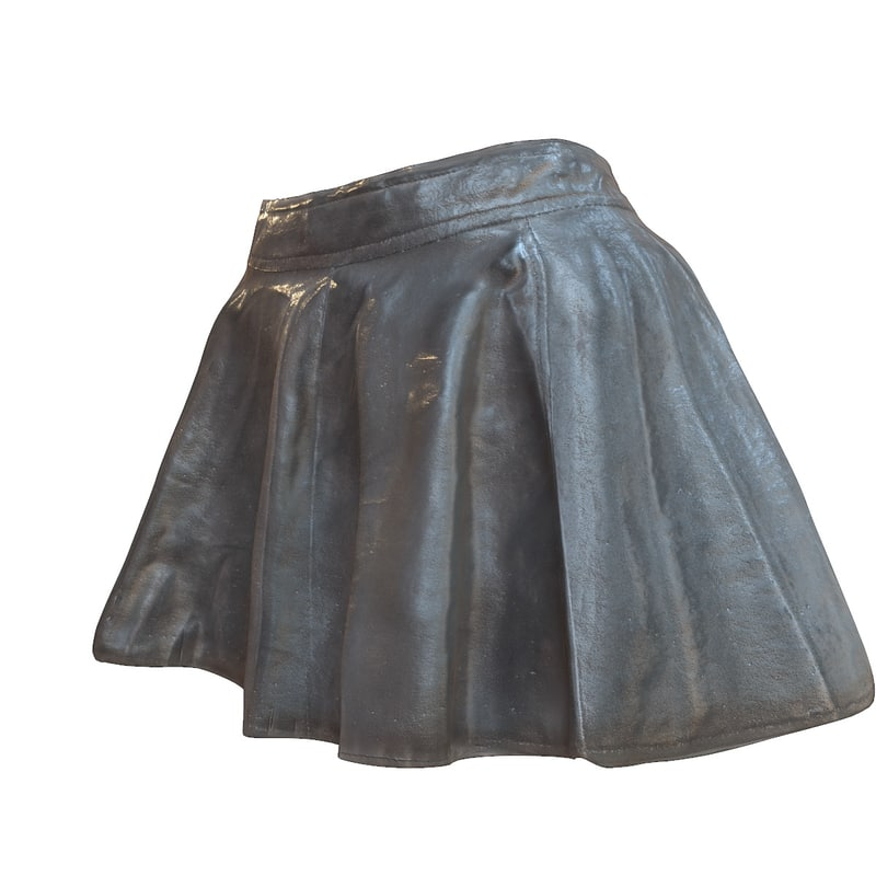 shiny black leather skirt 3d obj