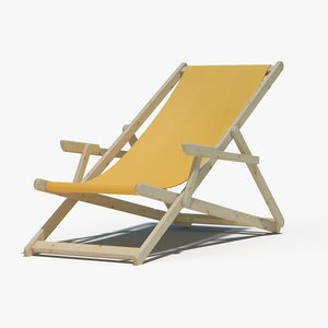 sunbed fabric wooden 3d model