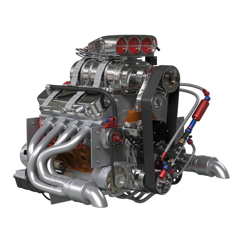 3d car engine blower model