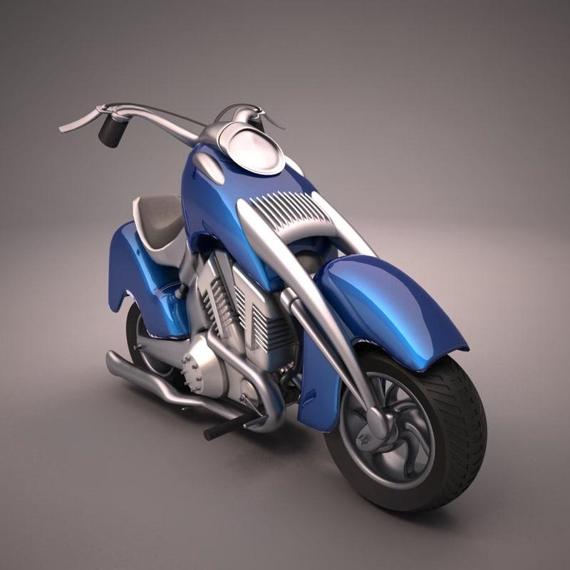 cartoon motorcycle 3d fbx