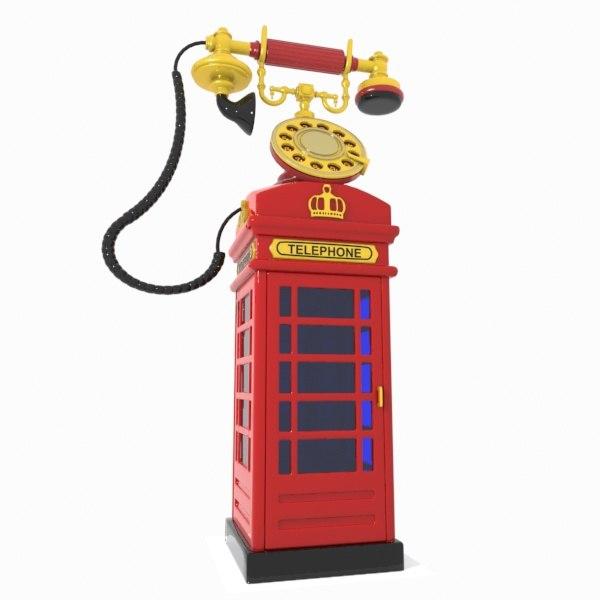 cartoon red telephone 3d max