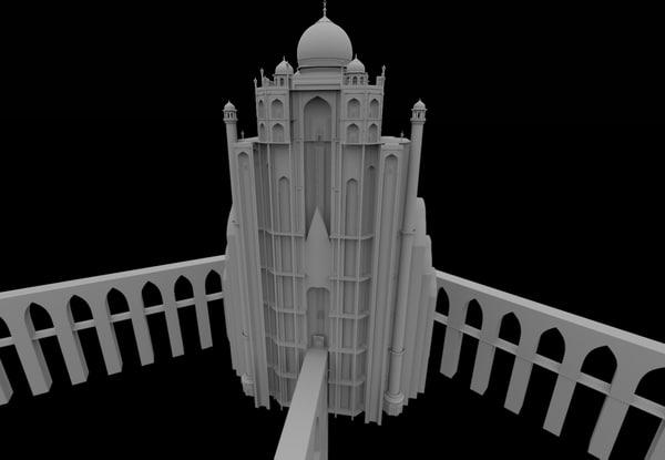 3d fantasy building taj mahal model