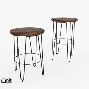 3d model mid-century hairpin bar counter