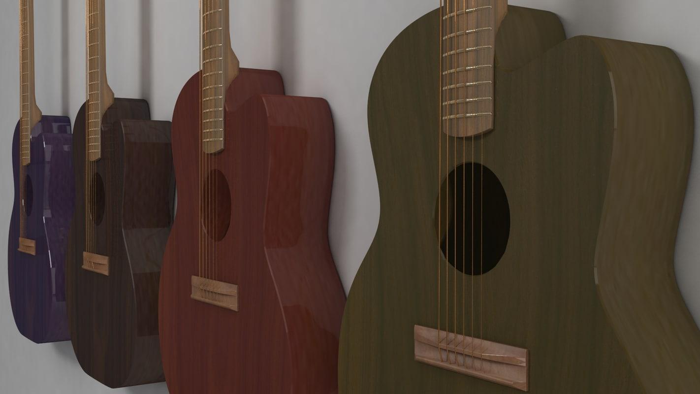 free color acoustic guitar 3d model