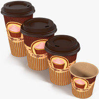 coffee cups takeout design 3d model