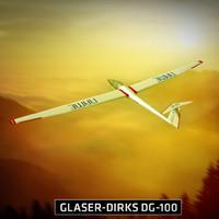 Glider Sailplane Glaser DG-100 low poly