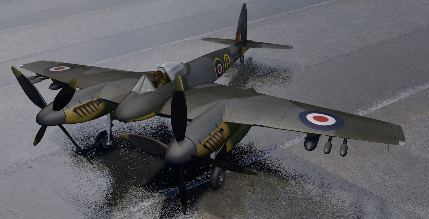 dehavilland hornet f mk-1 3d model