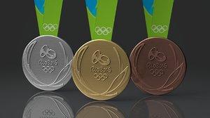 rio 2016 olympics medals 3d model