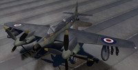 3ds dehavilland seahornet fighter aircraft