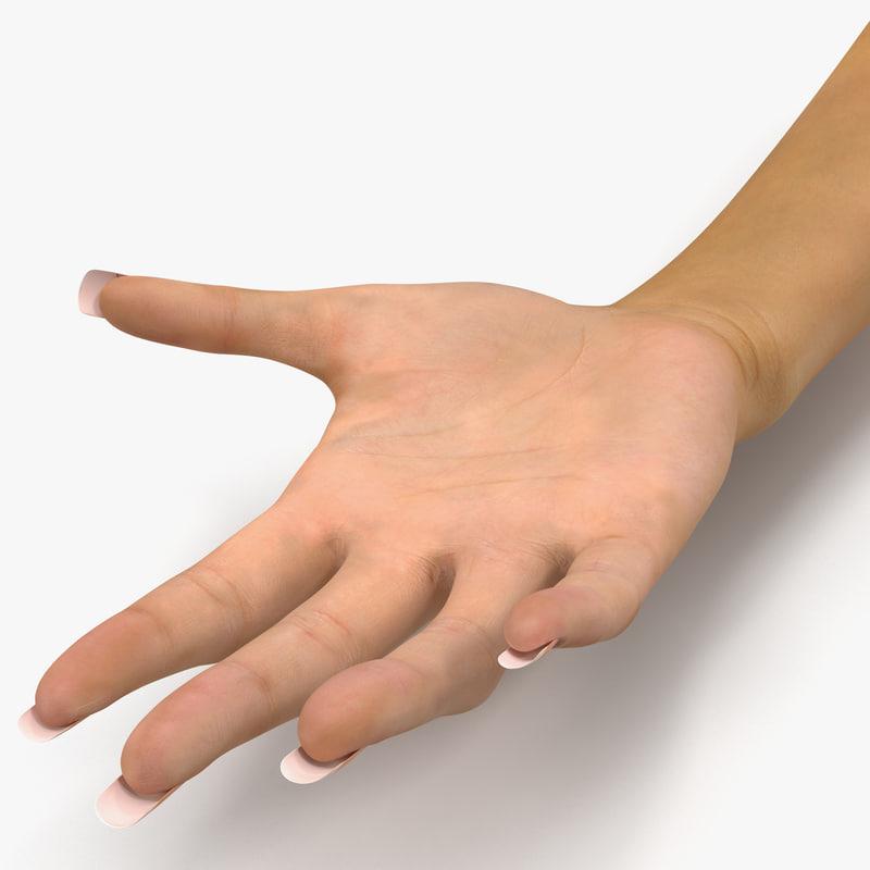 female hand 2 rigged 3d model