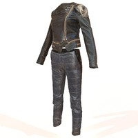 shiny leather clothing 3d obj
