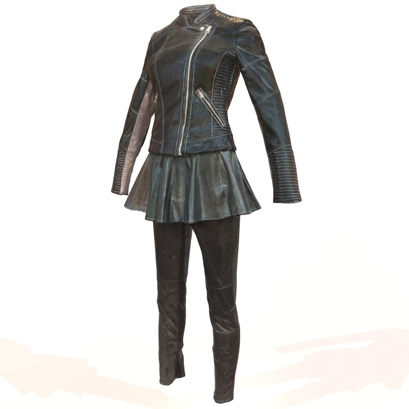 3d shiny leather outfit s model