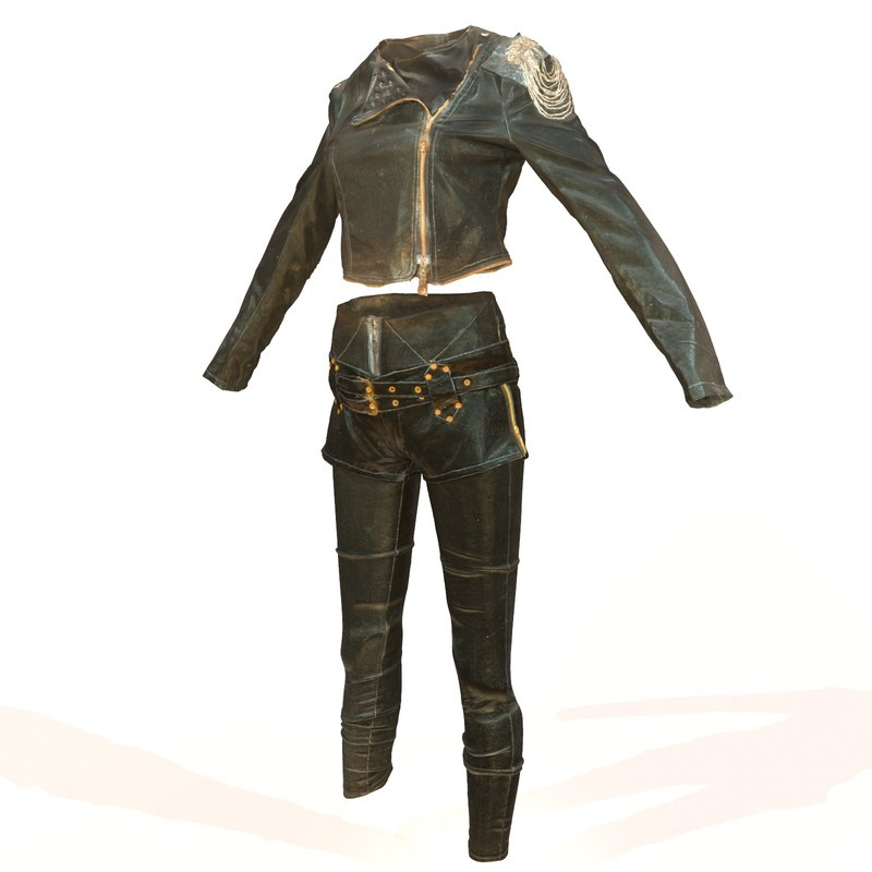 shiny leather clothing 3d model