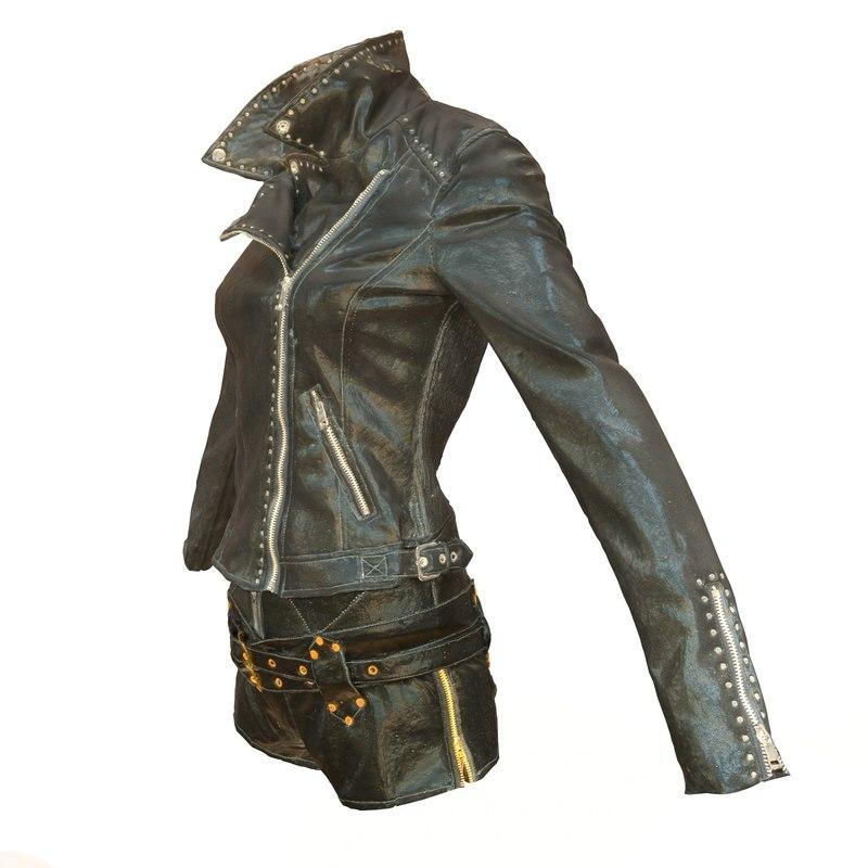 shiny leather clothing obj