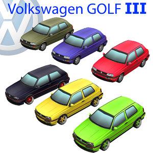 volkswagen golf iii 3d obj