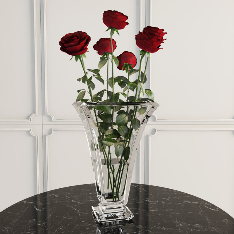 7 roses glass vase 3d max