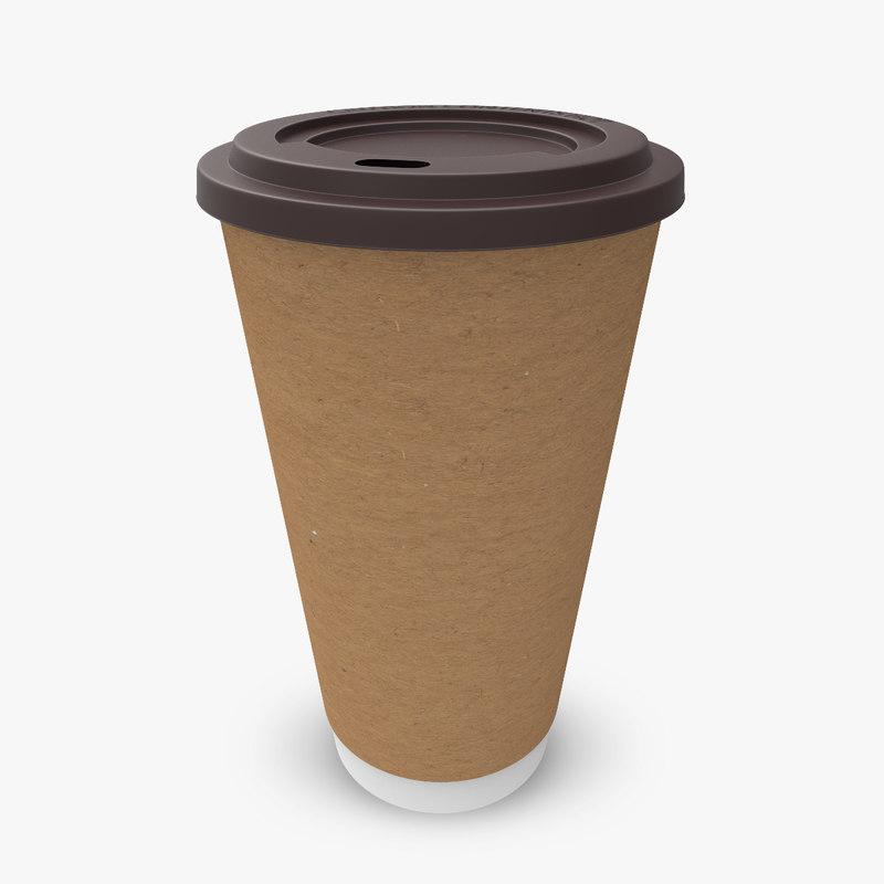 3d paper coffee cup away model