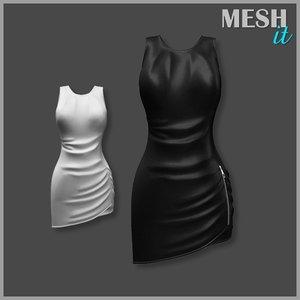 3d model zipper dress