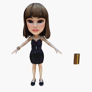 3d girl dress black model
