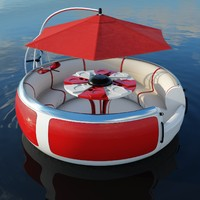 High poly model of BBQ Donut floating pleasure raft boat for recreation of pier, quay or wharf