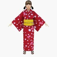 Japanese Casual Summer Kimono Girl ( Yukata Girl)