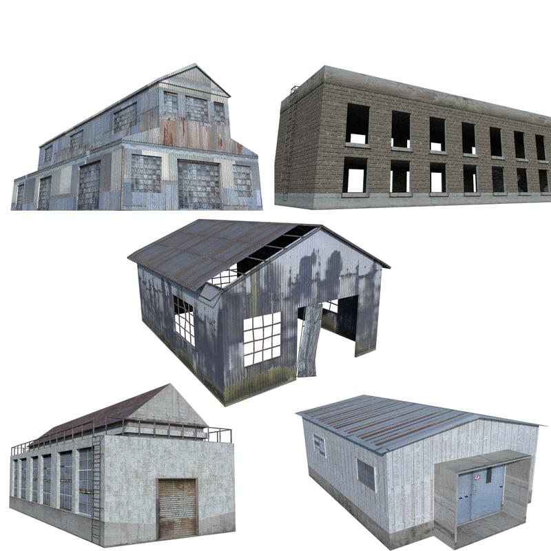 3d ruin warehouse house model