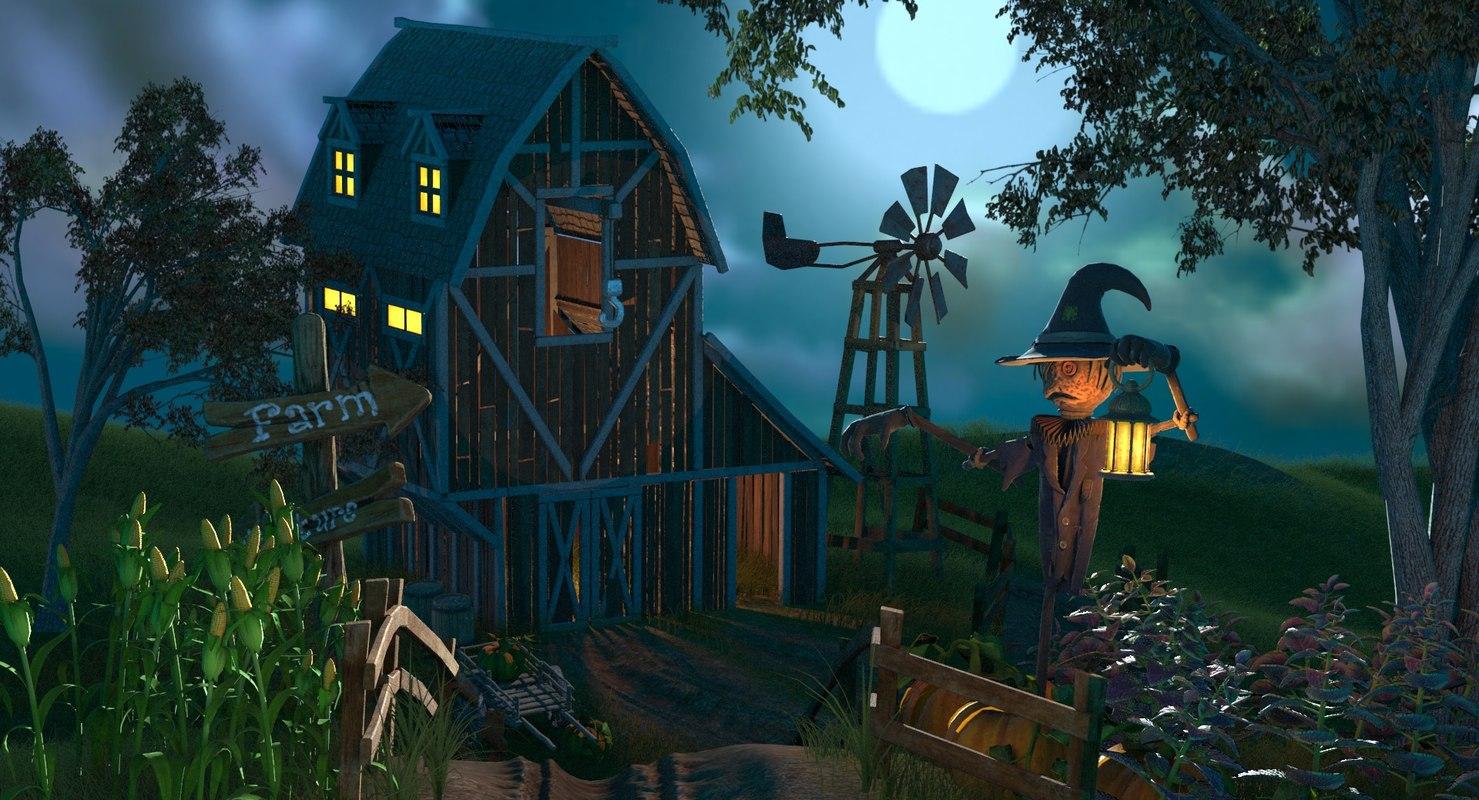 cartoon farm cart 3d model