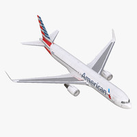 Boeing 767-300ER American Airlines Rigged 3D Model