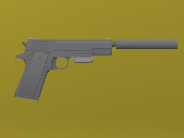 3d modern 1911 pistol attached