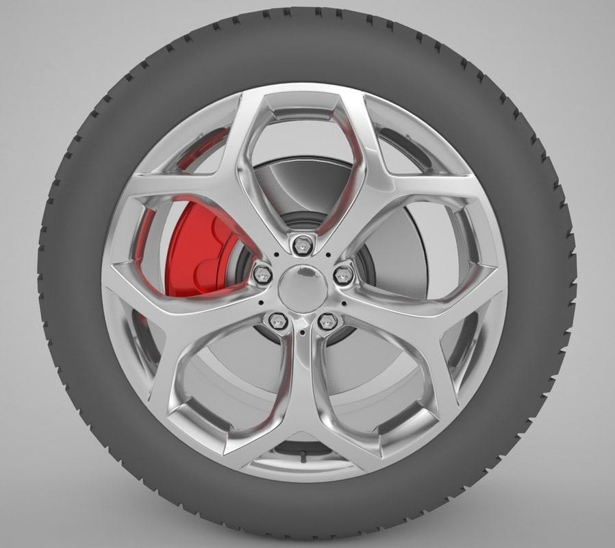 3d model of car wheel