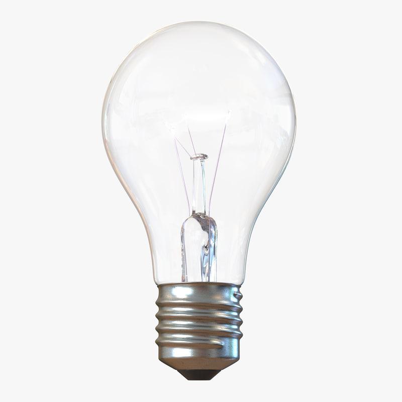 3d electric light bulb illuminated