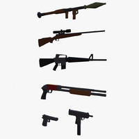 stylized weapons guns 3ds