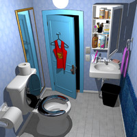 cartoon bathroom 3d fbx
