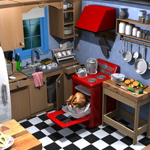 3d model of cartoon kitchen