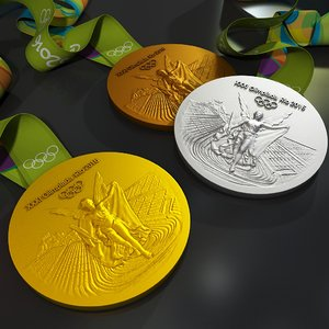 rio 2016 olympic medal 3d model