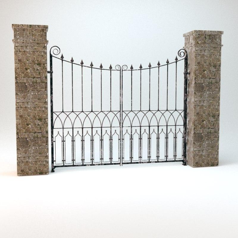 3d model old worn gate