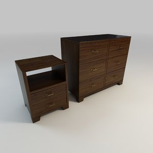 oak dresser nightstand 3d model