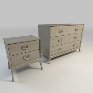 3d whitewashed dresser nightstand
