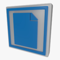 icon document 3d obj