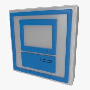 icon computer 3d obj