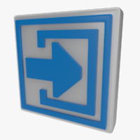 icon exit sign obj