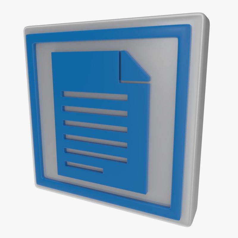 icon document 3d model