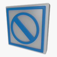 3d model of icon warning sign