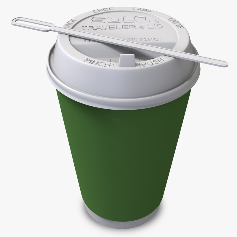 3d model paper coffee cup away