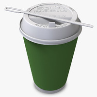 3d model paper coffee cup away